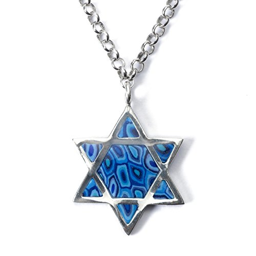 925 Sterling Silver Star of David Necklace Men's Jewish Pendant Handmade Blue Polymer Clay, 18.9