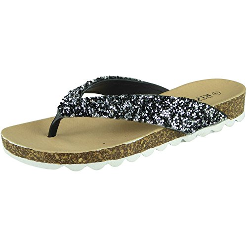 Womens Toe Post Ladies Sandales D'été brute 8 Slip Chaussures Noir Apparence 3 Taille Flats Chappal ONS Mode RCT5qnw