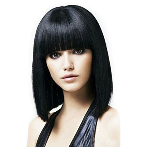 [Fani Wigs Short Bob Wig For Women With Free Wig Cap Yaki Straight Synthetic Wigs Flat Bangs Wig Black Color Cospaly] (Black Bob Wig With Bangs)