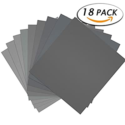 "Paxcoo 18 Pcs 9 x 11"" High Grit Wet and Dry Sandpaper Assortment 400 600 800 1000 1500 2000 3000 5000 7000 for Car"