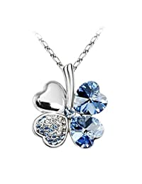 Four Leaf Clovers Necklace Light Blue Four Leaf Heart Crystal Pendant with Necklace