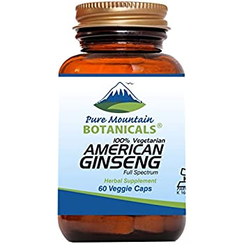 American Ginseng Root Capsules – 60 Kosher Vegetarian Caps - Now with 400mg Panax Quinquefolia