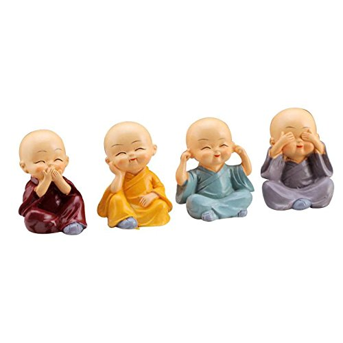 Wall of Dragon 4pcs/set Kong Fu Little Monk Figurines Car Dolls Home Decor Desktop Shaolin Temple Monks Toys Car Accessories Ornament #ET