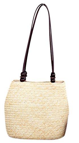 Bronze Times (TM) Womens Vintage Beaded Straw Braid Boho Bucket Shoulder Bag (Beige)