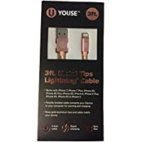 Youse Metal Tips 3ft Lightning Cable (rose gold)