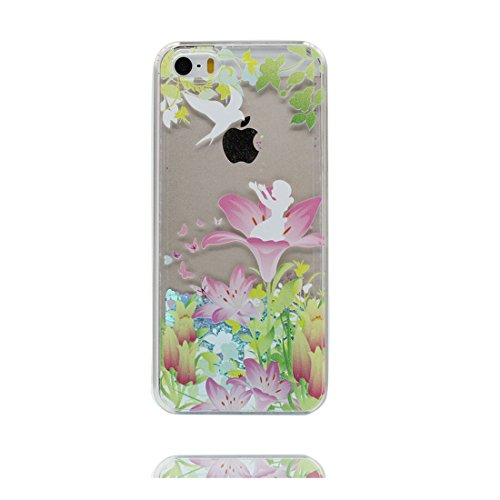 iPhone 5S Coque, iPhone 5 5C 5G étui, [Bling Bling Glitter Fluide Liquide Sparkles Sables] iPhone SE Case, iPhone 5 Cover, Shell-Lis Lily, anti- chocs