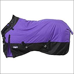 TOUGH-1 1200D WATERPROOF POLY TURNOUT HORSE WINTER BLANKET ADJUST SNUGGIT NECK PURPLE BLACK