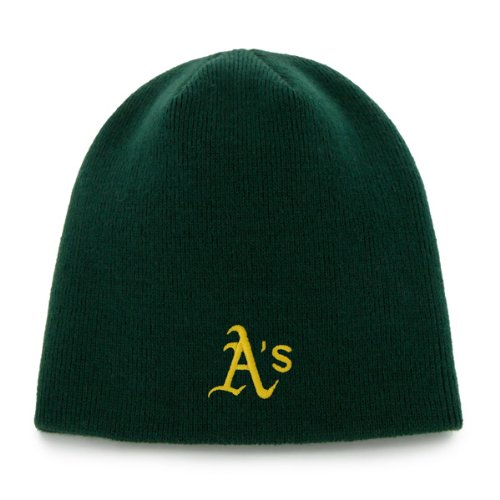 Hat Cap Knit Cuffless (Oakland Athletics A's Green Skull Cap - MLB Cuffless Beanie Knit Hat)