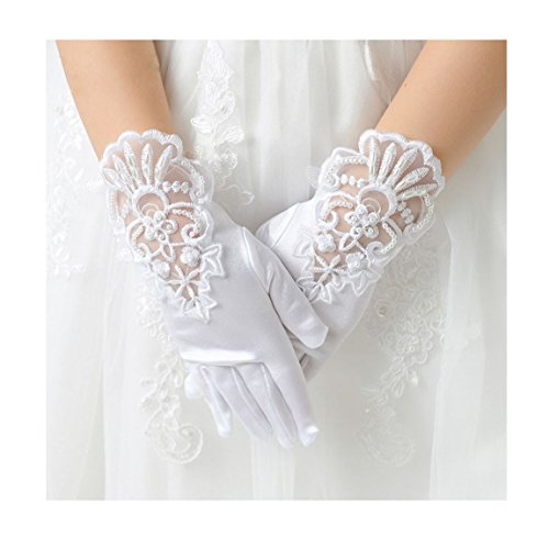 Tandi Girls Gorgeous Satin Fancy Gloves for Special Occasion Dress Formal Wedding Pageant Party Short