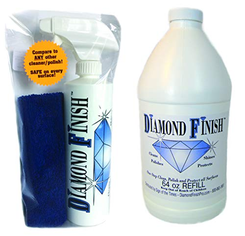 Diamond Finish 80oz Kit Waterless Multi Surface Nano Cleaner Polish Protector For Vehicles, Home, Boats; Removes Bug Residue, Tar, Bird Poop, Brake Dust, Tree Sap, Grease, Fingerprints While it Shines