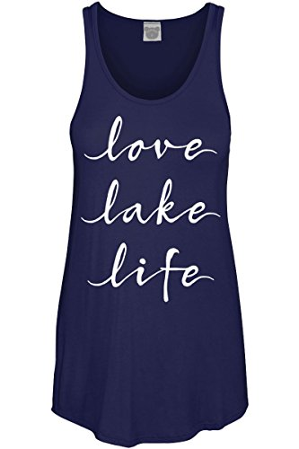 COLORBEAR Love Lake Life Scoop Neck Tank TOP Navy