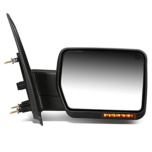 - For Ford F150 Black Powered Heated Glass + Turn Signal Light Side Towing Mirror (Right/Passenger)