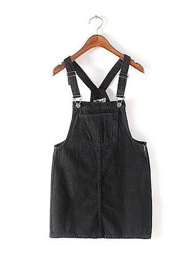 PU&PU Robe Aux femmes Gaine / Mousseline de Soie Simple,Couleur Pleine A Bretelles Mi-long Polyester , black-m , black-m