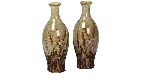 Hosley de Set de 2 jarrones de cerámica con diseño de flores ...