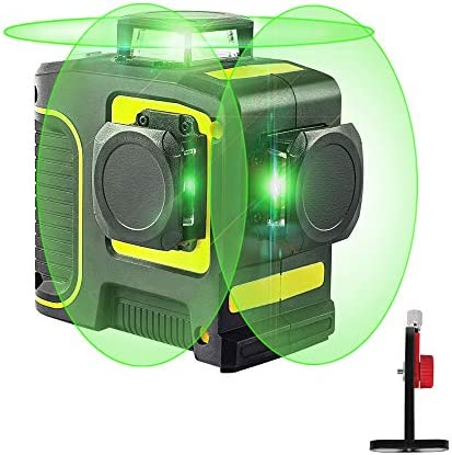 Laser Level, Self Leveling Laser Level, 3D Green Line Laser for Construction Picture Hanging, 360 Degree Alignment Laser Level Tool with 12 Lines for Indoor Outdoor