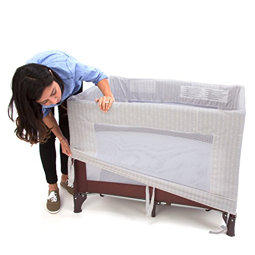 Coverplay Travel Crib Playard with Quick Removable Ecru Washable Cover and Carrying Case, Chocolate Brown