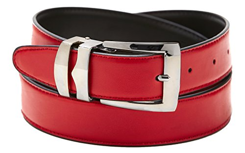 Reversible Belt Bonded Leather with Removable Silver-Tone Buckle RED / Black 38 -