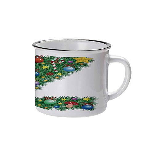 Letter Z Stylish Enameled Cup,Traditional Themed Font Design Z with Colorful Ornaments Christmas Santa Claus Decorative for Daily Use,2.9