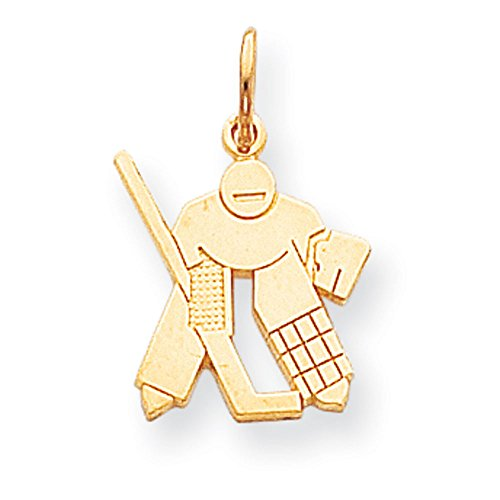 10K Yellow Gold Hockey Goalie Charm - Gold Hockey Goalie Charm