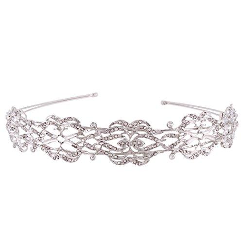 EVER FAITH Wedding Silver-Tone Leaf Hair Head Band Tiara Austrian Crystal Clear