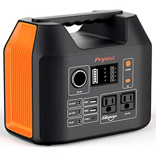 PRYMAX Portable Power Station, 300W Solar Generator 2020 Updated 298Wh CPAP Backup Battery Pack with LED Flashlight,Pure Sine Wave,AC Outlets,for Outdoors Camping Travel Hunting Emergency