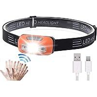 Super Bright LED Sensor Headlamp, Lightweight Waterproof Headlamps, USB Rechargeable Battery Flashlight, 5 Modes 500…