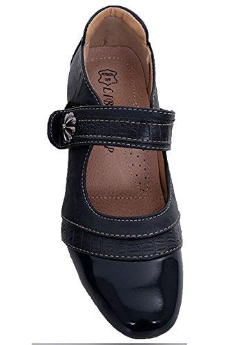 FANTASIA Heels Lackleder Jane Snake Blau Riemen BOUTIQUE Schuhe Damen Blockabsatz ® Niedriger Mary H1qHr