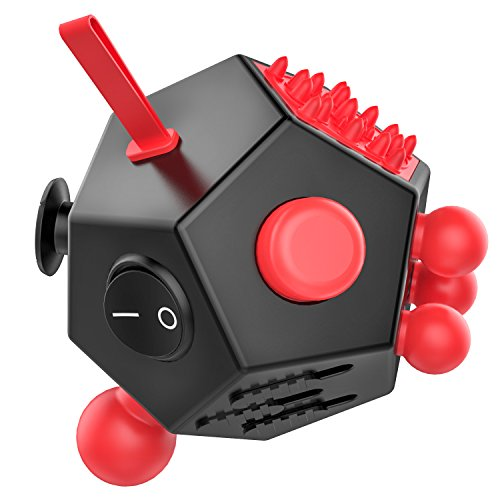 12 Sided Fidget Cube, ATiC Fidget Twiddle Cube Dodecagon Rubiks Cube Stress Relief Hand Toy Decompression for ADD, ADHD, Autism Kids and Adults, Black/Red