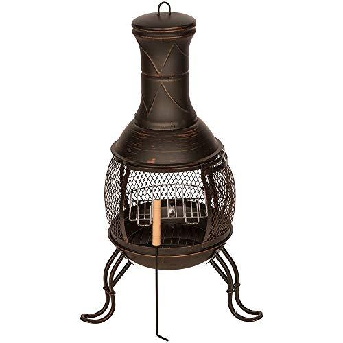 Kingfisher CHIM1A Outdoor Chiminea BBQ Heater, Black & Bronze Finish