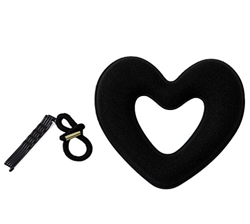 LALANG Black Heart Shape Hair Styling Doughnut Donut Bun Ring Hair -