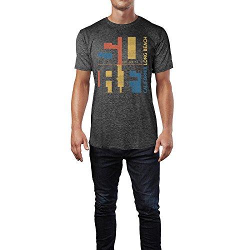 Sinus Art ® Herren T Shirt Surf California Long Beach ( Heather_Dark_Grey ) Crewneck Tee with Frontartwork