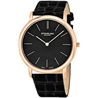 Men's 601.3345K1 Analog Classic Ascot Swiss Quartz Ultra Thin Rose Tone Black Leather Strap Watch
