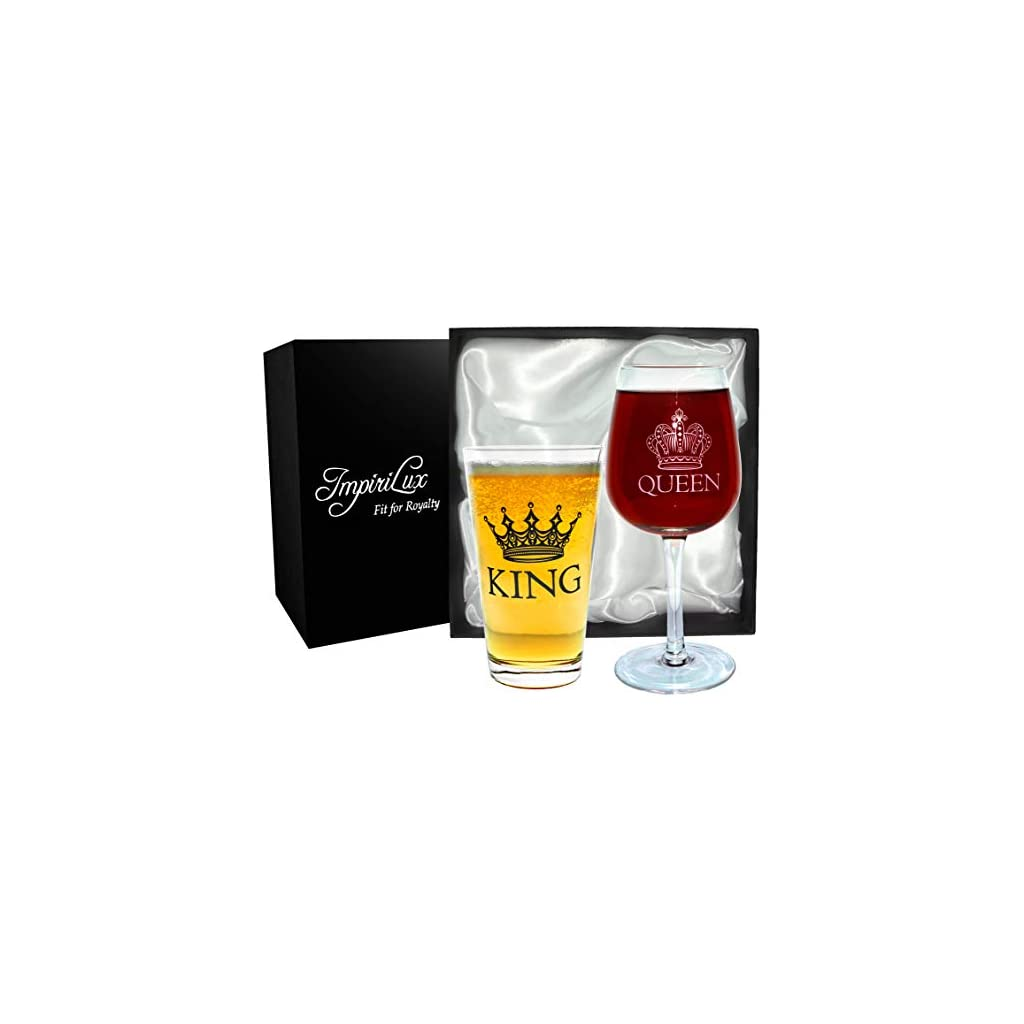 King Beer & Queen Wine Glass Set | Beautiful Gift for Newlyweds, Engagements, Anniversaries, Weddings, Parents, Couples, Christmas – Novelty Drinking Glassware (King Beer & Queen Wine Glass Set)