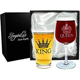 King Beer & Queen Wine Glass Set   Beautiful Gift for Newlyweds, Engagements, Anniversaries, Weddings, Parents, Couples…