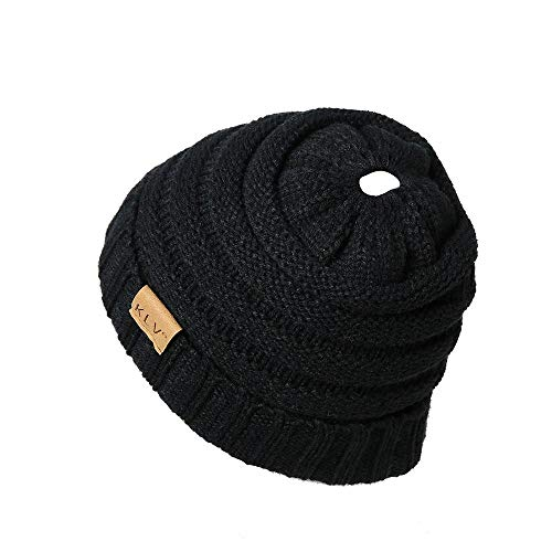 HGWXX7 Unisex Men Women High Bun Ponytail Baggy Warm Crochet Wool Knit Ski Hat Skull Beanie Caps(One Size,Black-1)