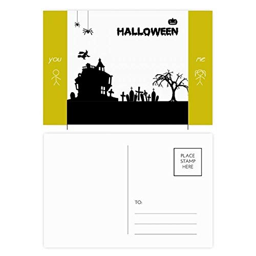 Trees Happy Ghost Fear Halloween Friend Postcard Set
