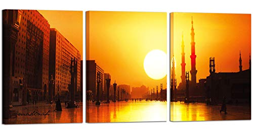 Urban Sunset Orange Glow Large Wall Art Canvas Prints with Frame Artwork Picture Home Decorative Painting 24x32Inch 3 Pieces for Living Room Bedroom Bathroom