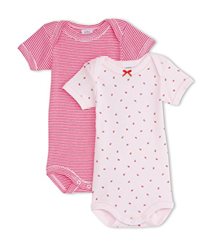 Petit Bateau Baby Girls' Striped/pink Strawberry Bodysuit/onesie S/S 1/m, STYLE 13107 ()