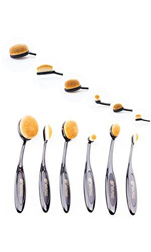 Baby Beauty Professional Makeup Brushes 6 Piece Soft Oval Toothbrush Design Makeup (6 Piece Makeup Set)