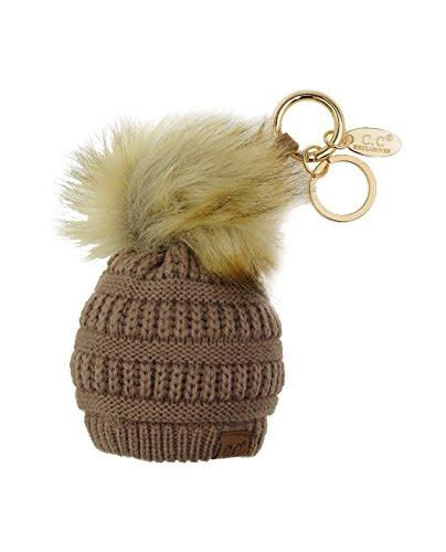 C.C Pom Pom Beanie Key Chain Key Ring Handbag Tote Accessory, Taupe