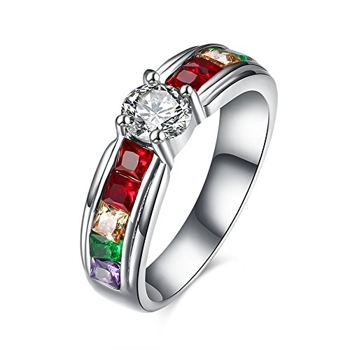 Crystal Plated Trinket Gold Silver (Garilina trinket Silver mulit color Austrian crystal jewelry Party Gift Women's rings R2210 (8))