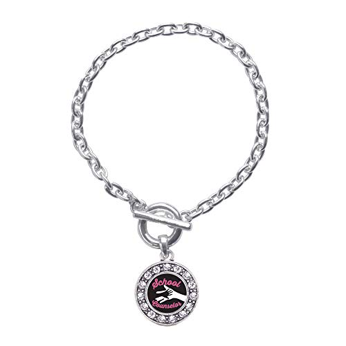 Inspired Silver - School Counselor Toggle Charm Bracelet for Women - Silver Circle Charm Toggle Bracelet with Cubic Zirconia Jewelry