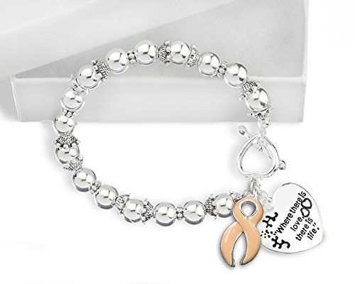 Fundraising For A Cause Uterine Cancer Awareness Ribbon Bracelet - Where There Is Love (Retail) - Cancer Awareness Toggle Bracelet
