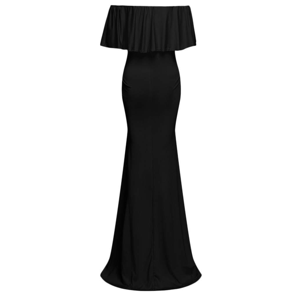 f3b0b2aa92842 Amazon.com: Sagton Pregnancy Dress For Women Ruffle Off Shoulder Photoshoot  Long Dress Maternity Clothes: Clothing
