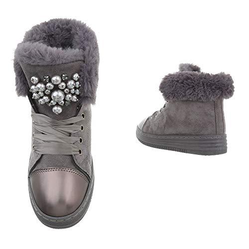 Damen gefüttere Winterschuhe Stiefeletten Größen Busch Perlen Boots 36 von 41 Scheestiefel Fell Schnee Grau Dick Warme Winter Kunst Stiefel Bn1rw8B
