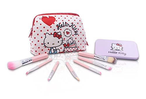 Finex Hello Kitty Cosmetic Bag + Makeup Brushes Set - CANVAS White Multifuction Travel Cosmetics zippered handbag and SEVEN Make-up Brushes in a Pink Box with - Kitty Bag Hello Cosmetics