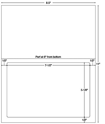 7-1/2''W x 5-1/8''H White 1 Up Integrated Label Forms (1500/Case) - TBBS-59922