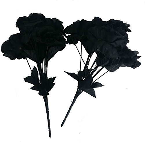 Artificial Black Roses: Pack of 6 bushes