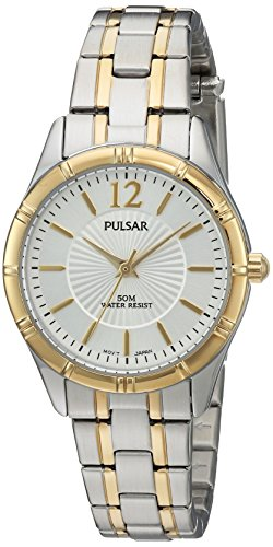 Pulsar Women's Quartz Brass and Stainless Steel Dress Watch, Color:Two Tone (Model: ()