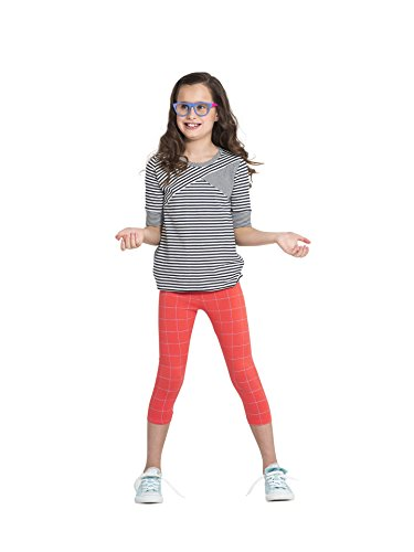 Colored Organics Girls Organic Cotton Cropped Legging Capris - Hot Coral/Grid Print - 5T